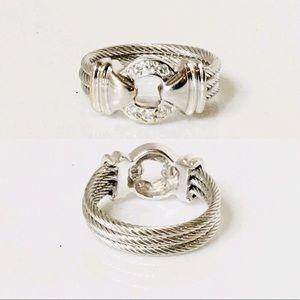 Charriol Jewelry - Charriol 750 18k Gold Diamond Nautical Cable Ring